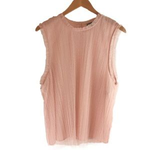 Chelsea28 NWT pink layered lace tank; XL